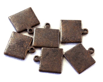6x Antique Brass / Brown Patina Blank Wyoming State Charms - M073/AB-WY