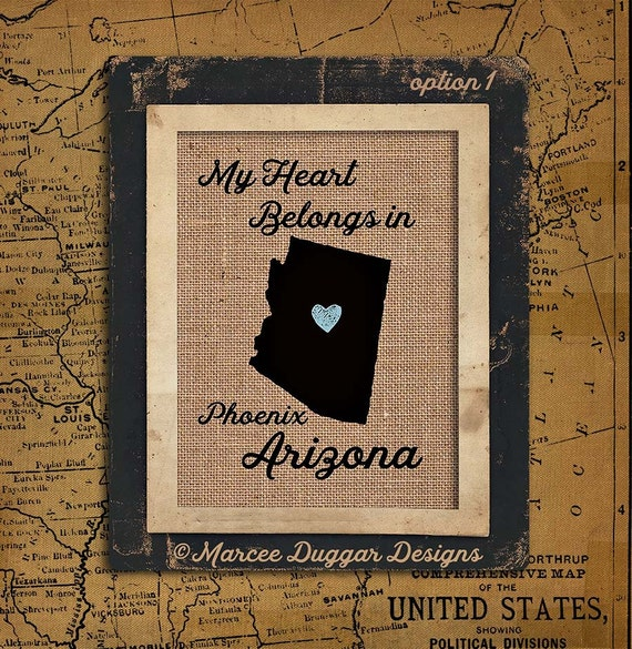 Arizona Personalized State Burlap Print | Housewarming Gift | Latitude | Longitude | GPS | USA | Family Name | USA_003