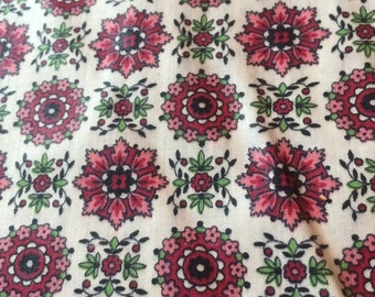 Vintage floral, medallion Print Fabric, pink and green accent of black . 9 yards
