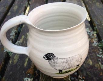 Pottery , cup ceramic mug white with sheep