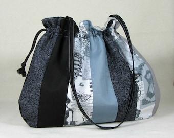Cotton patchwork bag,  womens handbag,  everyday purse, handmade drawstring bag, grey patchwork bag