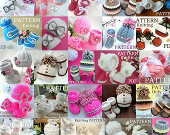 Knitting Patterns All my PATTERNS for 85 dollars Baby Booties Baby Hat Baby Beanie Baby Shoes Baby Bonnet Newborn Girl Boy Baby Uggs PDF