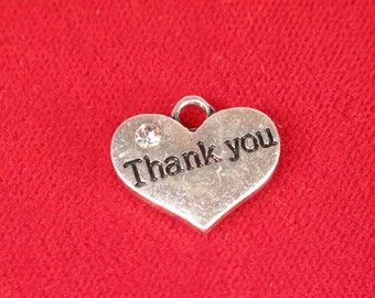 """15pc """"Thank you"""" charms in antique silver style (BC1000B)"""