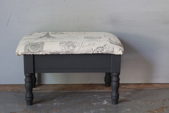 Upholstered Footstool Small Painted Gray Black And White