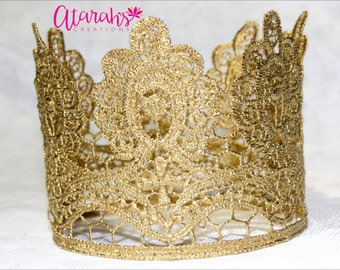 Gold crown Cake topper / Crown Cake Topper / Cake Topper Photo Prop / cake smash lace crown / cake topper crown / MADE IN USA.