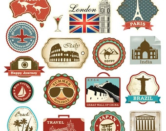 18 Retro Vintage Style Travel Suitcase Luggage Stickers
