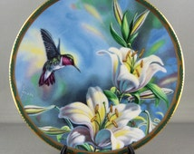 Porcelain Plate, Floral Plate, Hanging Plate, Collector Plates, Display Plate, Handpainted Plate, Artist Plates, Gems of Nature