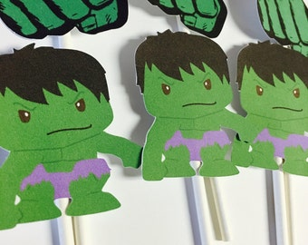 Hulk cupcake toppers, Hulk toppers, Superhero toppers