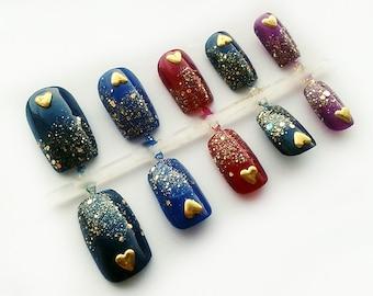 Mardi Gras Hand Painted Fake Nails, European Short False Nails, Square Artificial Nail Set, Glitter Nail Art Design