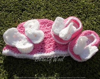 3D Butterfly Baby Hat & Dolly Shoe Set