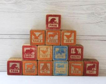 Vintage Lot of 14 Wooden Blocks, Vintage Wood Blocks, Vintage Wood Toy