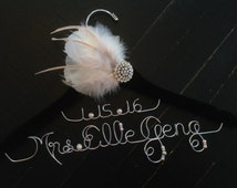 Wedding hanger,Great Gatsby themed bridal hanger, bridal hanger with a fascinator, bridal hanger with feathers