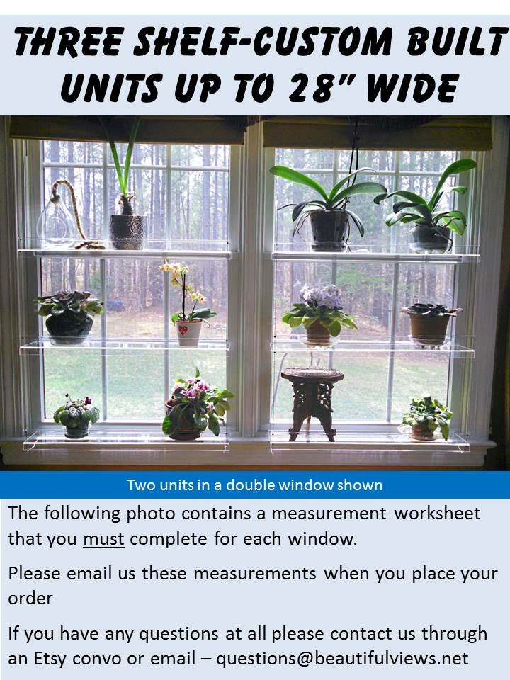 three shelf custom window plant shelves by indoorwindowgardens. Black Bedroom Furniture Sets. Home Design Ideas