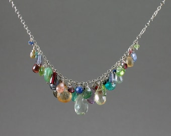 Mixed Stone Drop Necklace