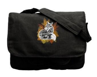 Fox Bag, Autumn Vixen Embroidered Canvas Messenger Bag