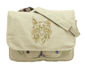 Northwoods Silhouette Wildcat (Lynx) Embroidered Canvas Messenger Bag