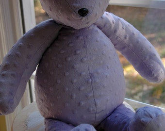 Minky teddy bear, handmade teddy bear, stuffed teddy bear