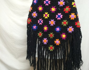 Knit shawl, granny squares,black,knit, flowers, fringed,wrap,pink,purple,yellow,green,shawl, Free shipping in the US