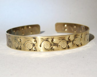 Antique bangle, brass bangle , flat bangle, Greek bracelet, handmade bangle, forged brass, lightweight bangle, brass cuff bracelet