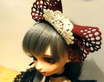 Little Red Hood lace bow maroon Headpiece for MSD 1/4 Girl BJD