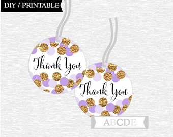 Instant Download Purple Glitter Gold Polka Dots Thank You tags Birthday party Baby shower DIY Printable (CON210)