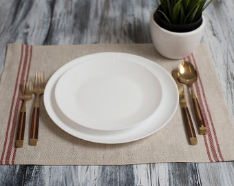 Linen Placemat Stonewashed Natural with Red Stripes