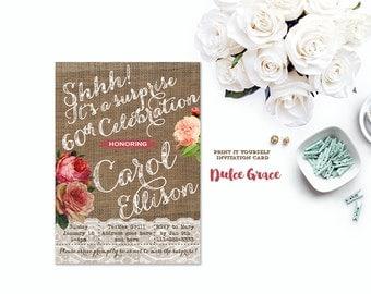 vintage style birthday invitations, surprise birthday invitations, printable, surprise birthday invitation, 65th 75th 85th birthday invite