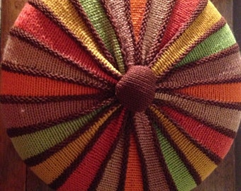 vintage handmade crochet pillow -fantastic colors from the 70s