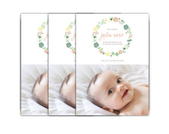 Baby Girl Birth Announcement // Floral Baby Announcement Card // 5x7 Printable Photo Birth Announcement Card // The Eva