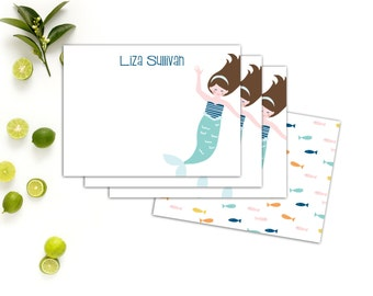 Mermaid Personalized Note Cards // Children's Stationery // Custom Mermaid Note Cards for Kids