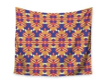 "Wall Tapestry - Indigo Orange Miranda Mol ""Ethnic Border"" NM4123A Great Gift Idea!"