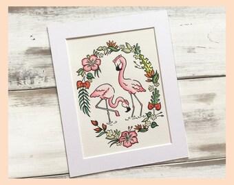 "Tropical Flamingos Illustration, 8""X10"" mounted print"
