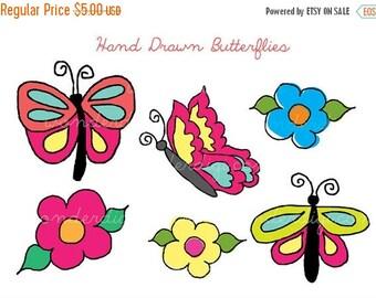 Clipart LOVE SALE Clipart - Butterflies Clip Art - Hand Drawn - Flower Clipart