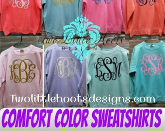 Comfort Color Sweatshirt Glitter Monograms