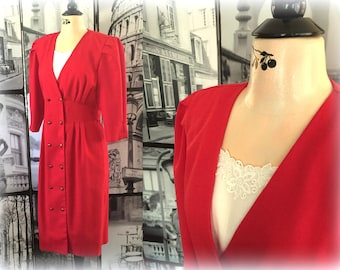 80s Classy Red Dress - Detailed Styling - Double Breasted - Breli Originals