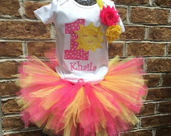 Girls First Birthday Outfit- You are my Sunshine - Cake Smash Outfit - Headband, Tutu and Sun Shirt - First Birthday - Pink and Yellow