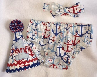 Boys Cake Smash Outfit - Red and Blue Nautical Anchors - Diaper Cover, Bow Tie & Birthday Hat - Birthday Set