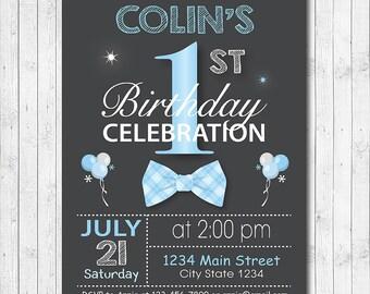 Bow Tie Birthday Invitation, Bow Tie Invite, Bowtie Invitation, 1st Birthday Invitation, Boy Invitation, Digital printable Invitation