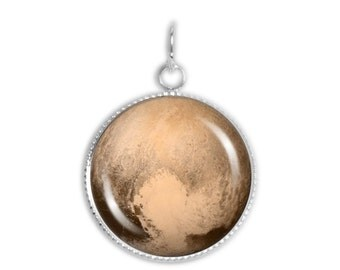 """Dwarf Planet Pluto w/ Heart Surface Feature 3/4"""" Space Charm for Petite Pendant or Bracelet in Silver Tone or Gold Tone"""