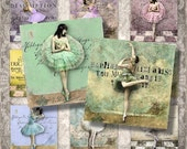"Last Call Vintage Ballerinas - 2x2"" shabby squares - Digital Collage Sheet (021) - Printable instant download for greeting cards magnets gif"