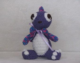 Darcy the Baby Dragon - Crocheted Stuffed Dragon