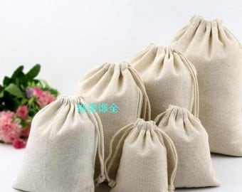 50pc :Natural Organic Cotton Bags Drawstring Bags Pouch Wedding Favor Gift Packaging Bag Jewelry Party Bags