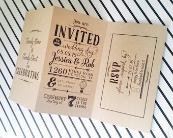 tri fold wedding invitation  etsy uk, Wedding invitations