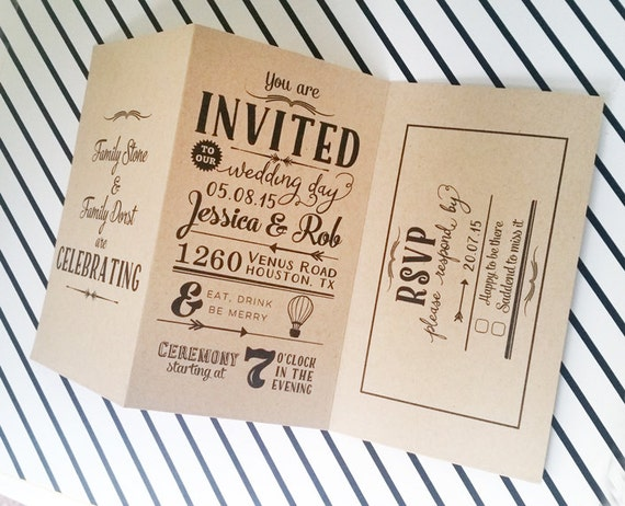 Items Similar To Wedding Invitations With RSVP Perforated Wedding Invitation