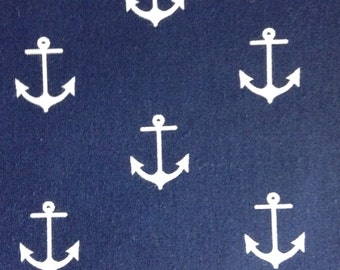 One Half Yard of Fabric Material - Anchors on Navy