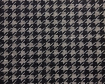 One Half Yard  of Fabric - Black and Gray Houndstooth