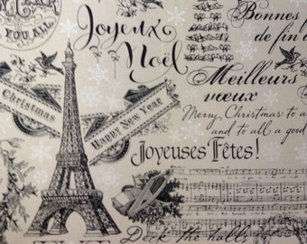 One Half Yard  of Fabric Material - Paris Christmas Collage