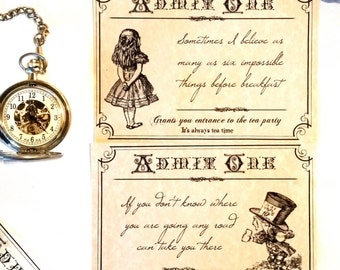 Alice in Wonderland themed tickets or invitations to a tea or birthday party
