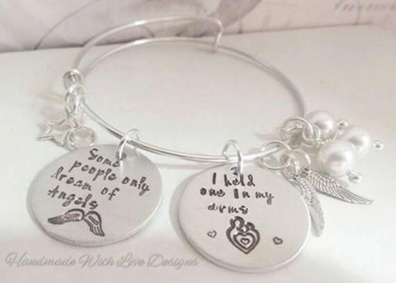 Angel Baby Adjustable bangle bracelet, personalised handstamped baby loss memorial jewellery,