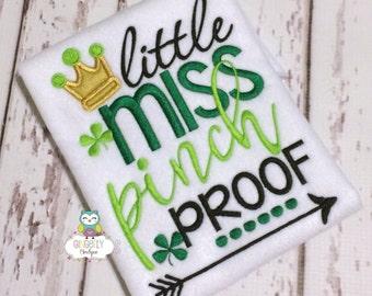 Little Miss Pinch Proof Shirt or Bodysuit, Girl St Patricks Day, Girl Shamrock Shirt, Girl St Patty's Day Shirt, Little miss Shirt